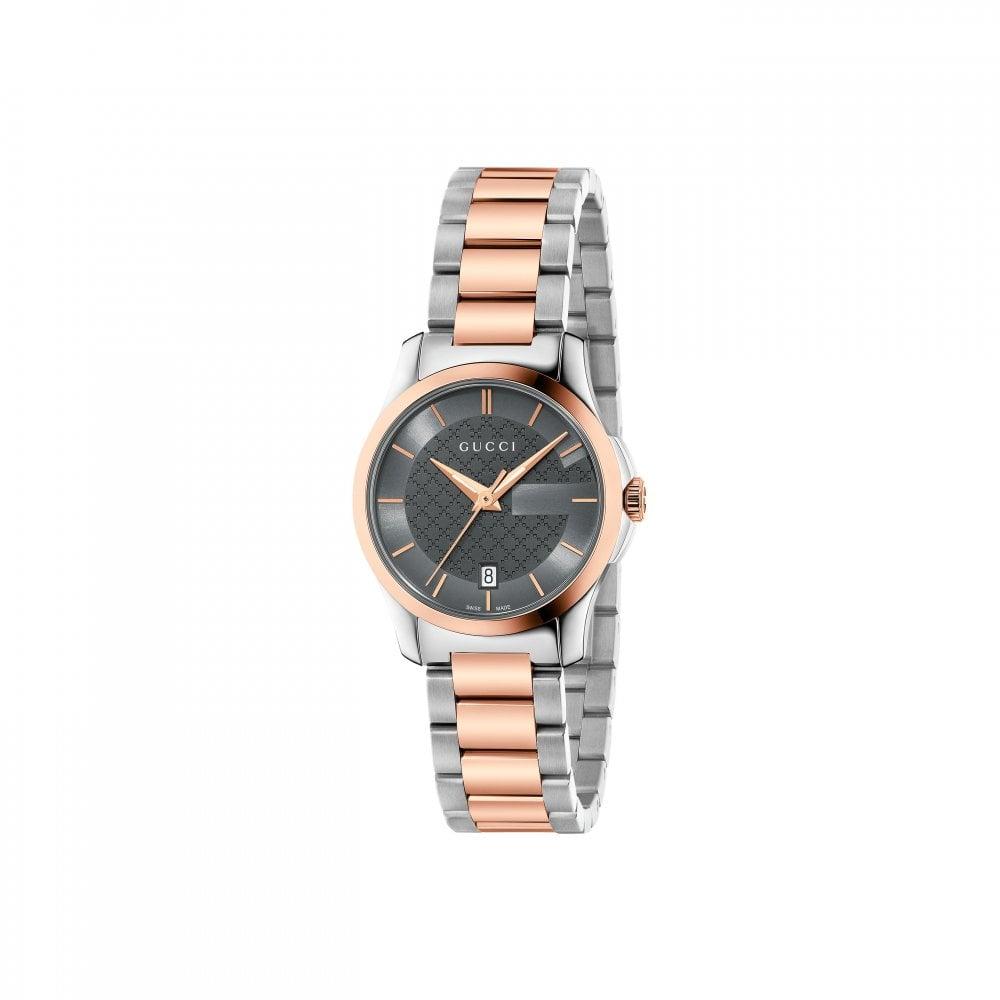 3e709d7b45 Gucci Ladies Gucci G-Timeless Grey Dial Two Tone Bracelet Watch