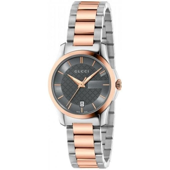 Gucci Ladies Gucci G-Timeless Grey Dial Two Tone Bracelet Watch