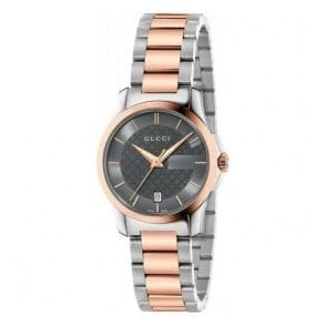 Ladies Gucci G-Timeless Grey Dial Two Tone Bracelet Watch