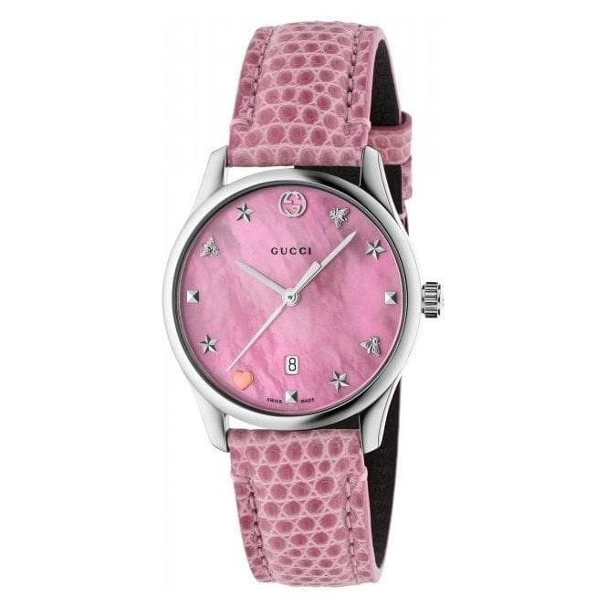 Gucci Ladies Gucci G-Timeless Pink MOP Signature Dial and Strap Watch