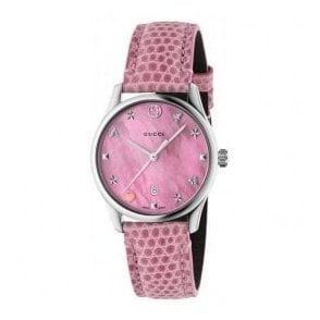 Ladies Gucci G-Timeless Pink MOP Signature Dial and Strap Watch