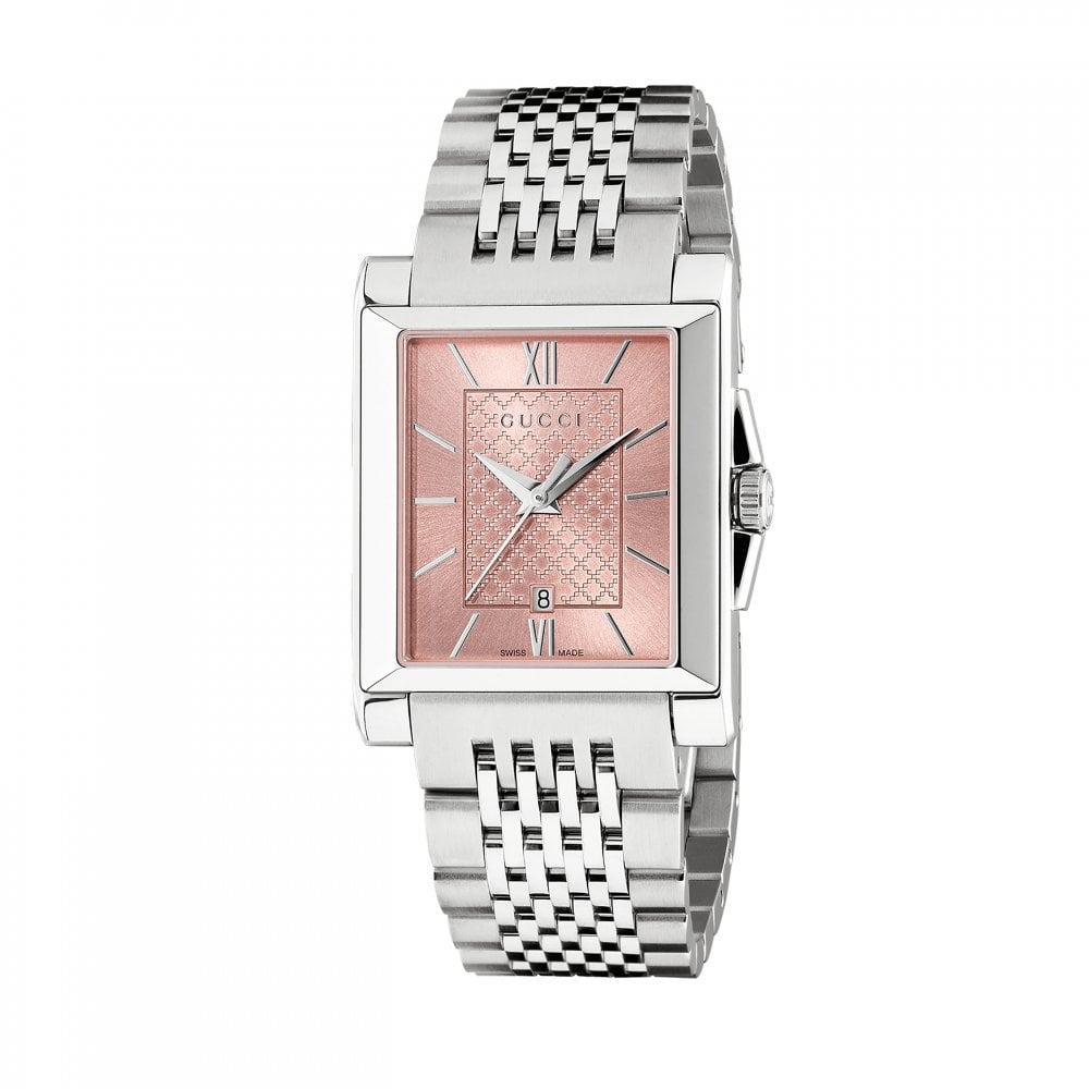 Gucci Ladies Gucci G,Timeless Rectangle Pink Dial Bracelet Watch