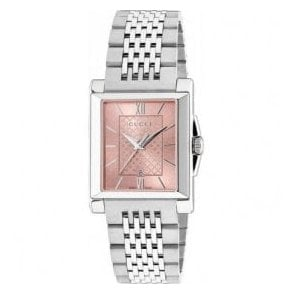Ladies Gucci G-Timeless Rectangle Silver Dial Bracelet Watch