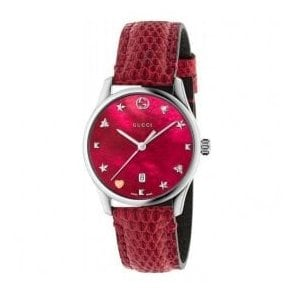 Ladies Gucci G-Timeless Red MOP Signature Dial and Strap Watch