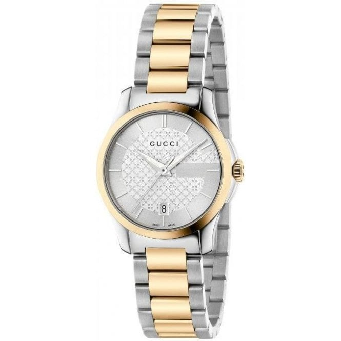 Gucci Ladies Gucci G-Timeless Silver Dial Two Tone Bracelet Watch