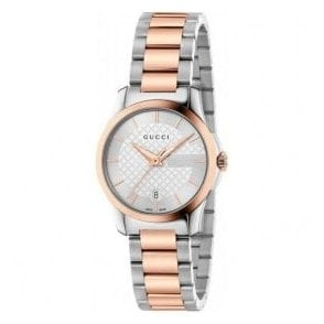 Ladies Gucci G-Timeless Silver Dial Two Tone Bracelet Watch