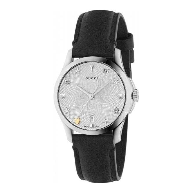 Gucci Ladies Gucci G-Timeless Silver Guilloche Signature Dial Watch