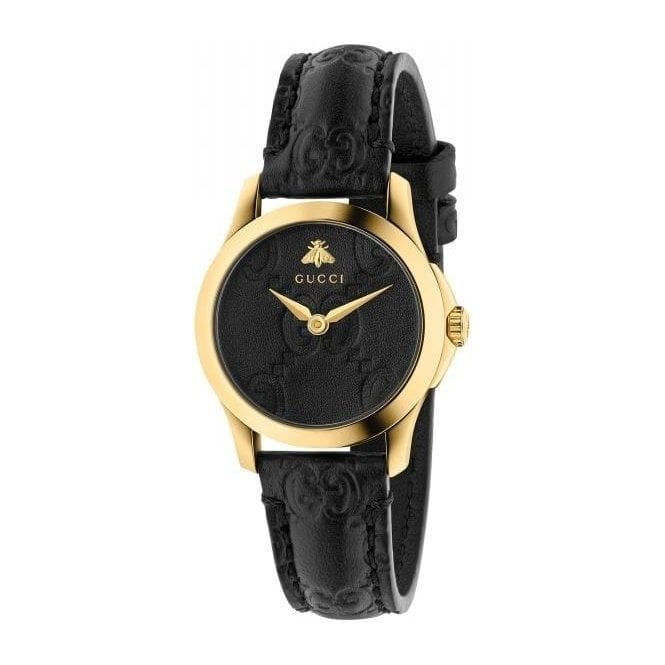 Gucci Ladies Gucci G-Timeless Yellow PVD Black Leather Dial Watch