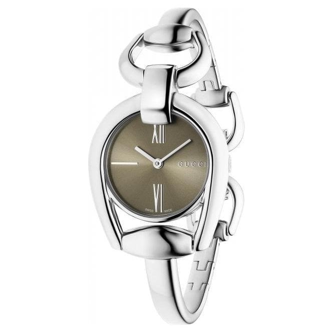Gucci Ladies Gucci Horsebit Brown Dial Bangle Watch