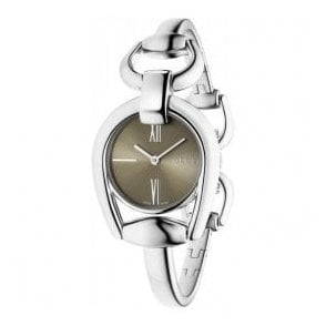 Ladies Gucci Horsebit Brown Dial Bangle Watch