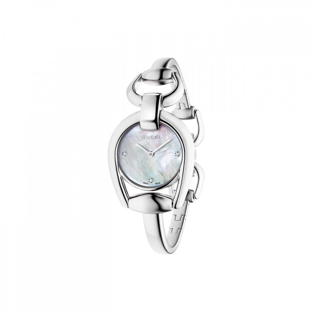 df0f8535e1f Gucci Ladies Gucci Horsebit MOP Diamond Set Dial Bangle Watch