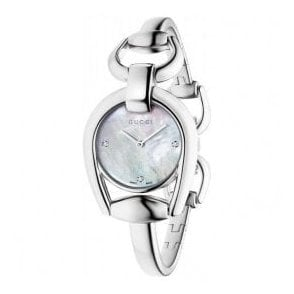 Ladies Gucci Horsebit MOP Diamond Set Dial Bangle Watch