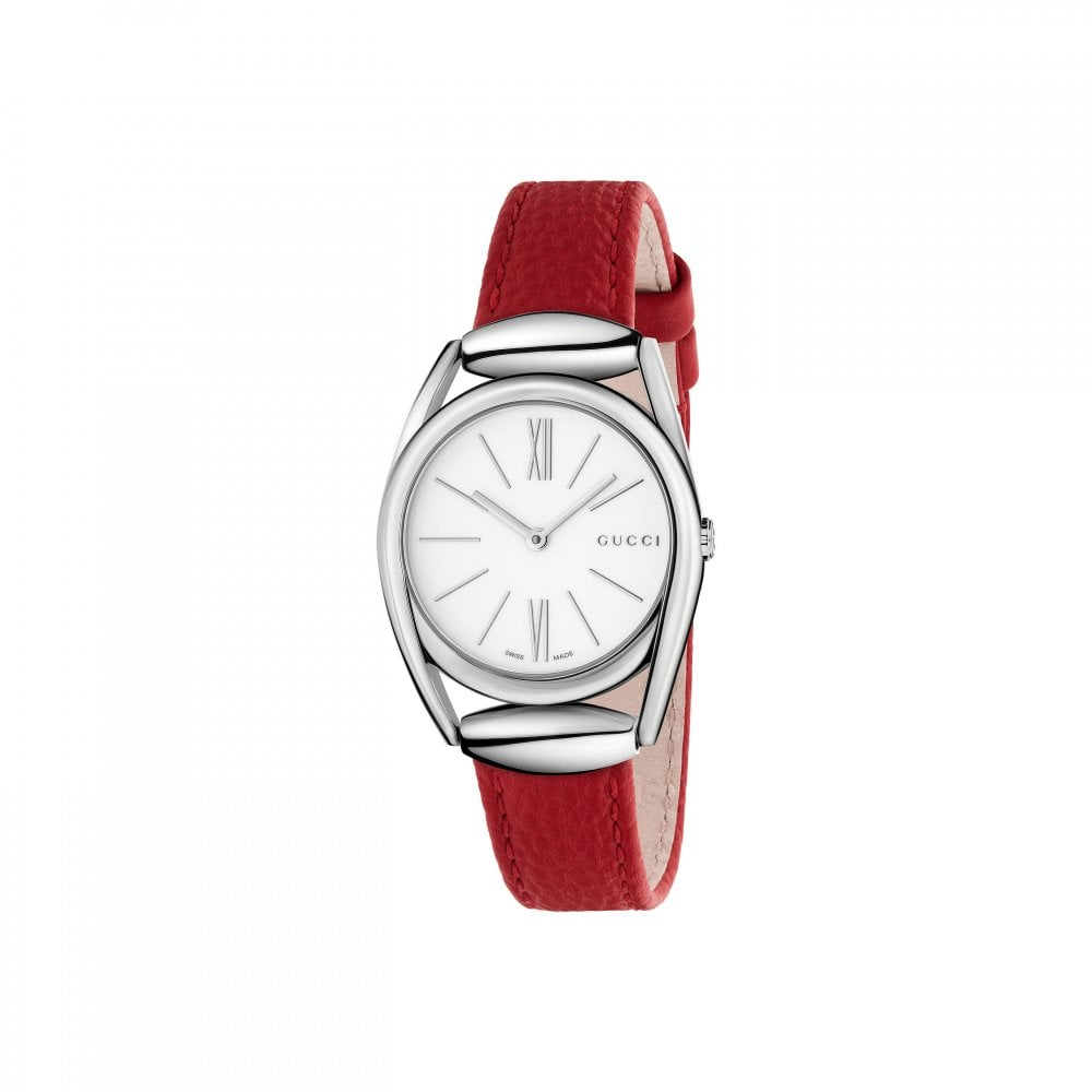 21c104a39 Gucci Ladies Gucci Horsebit Red Leather Strap Watch