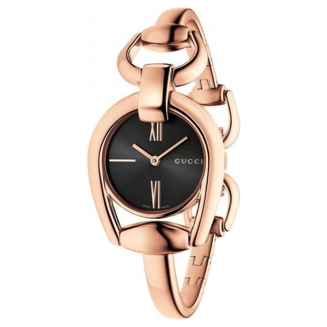 Gucci Ladies Gucci Horsebit Rose PVD Black Dial Bangle Watch