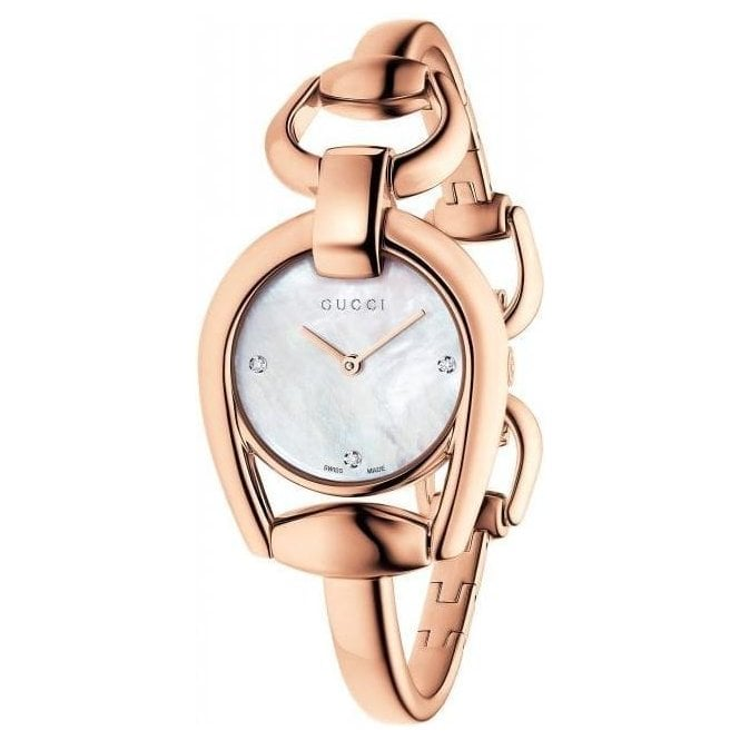 Gucci Ladies Gucci Horsebit Rose PVD MOP Diamond Set Dial Bangle Watch