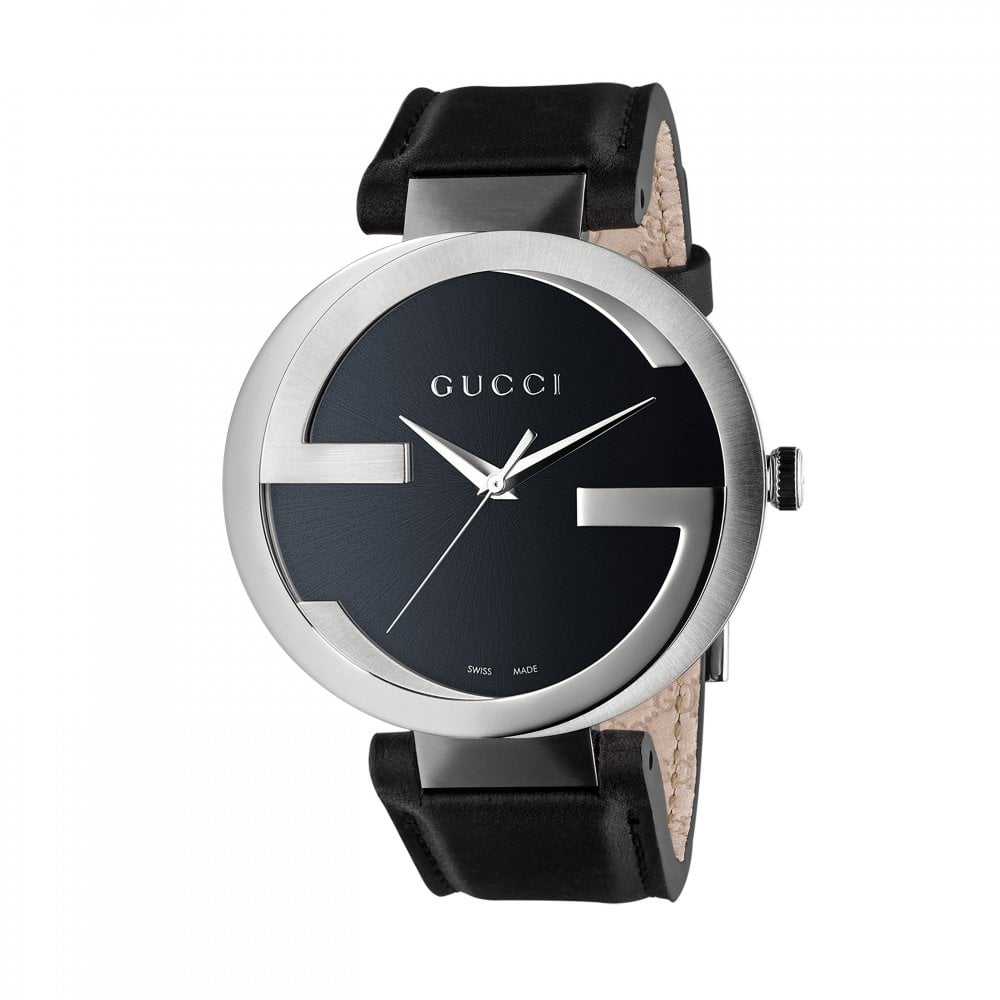 df8a1af02a5 Gucci Gucci LadiesInterlocking-G Black Dial Black Leather Strap ...