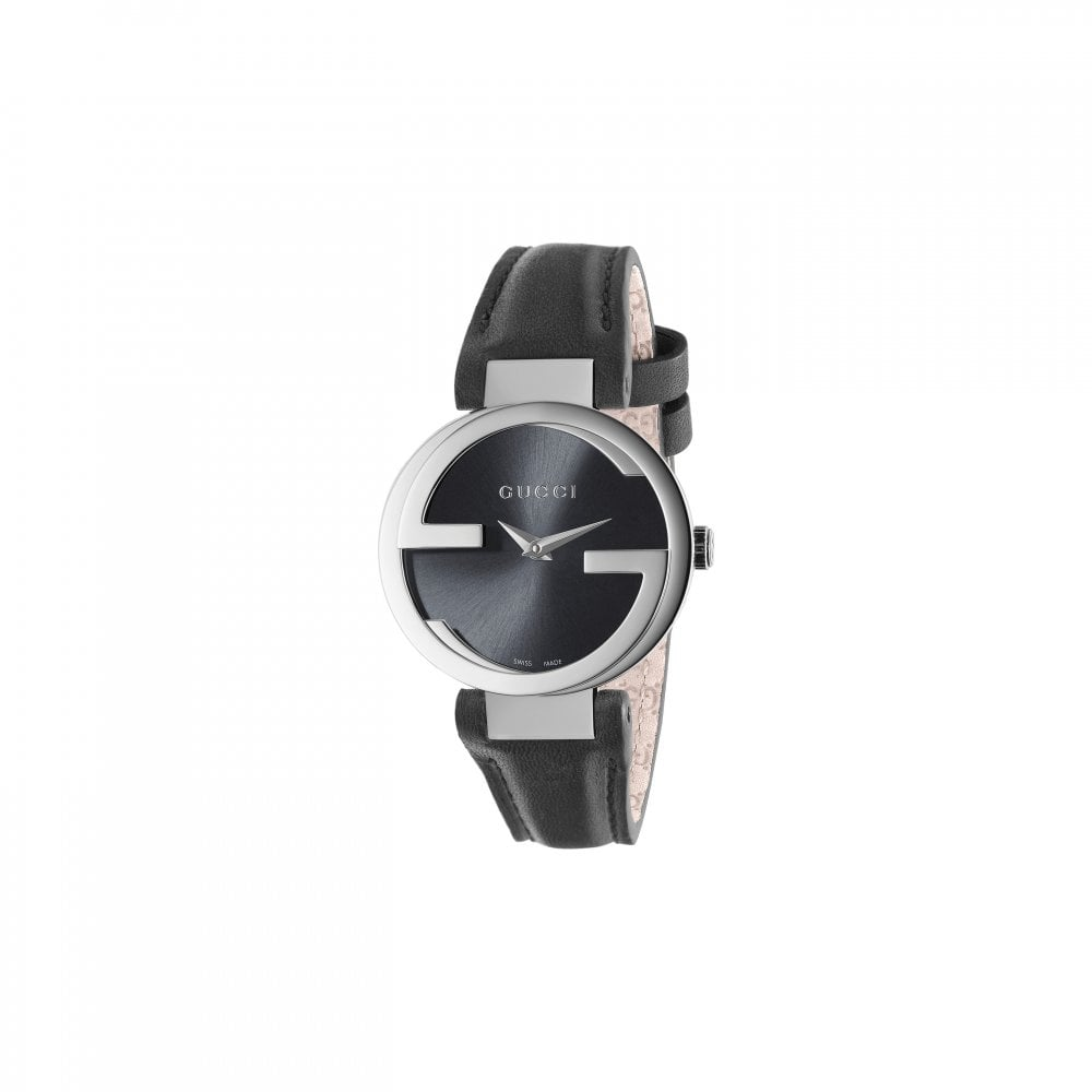 5b8dc21e835 Gucci Gucci LadiesInterlocking-G Black Dial Black Leather Strap ...