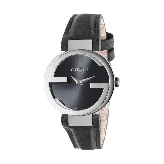 Gucci Ladies Gucci Interlocking-G Black Dial Black Leather Strap Watch