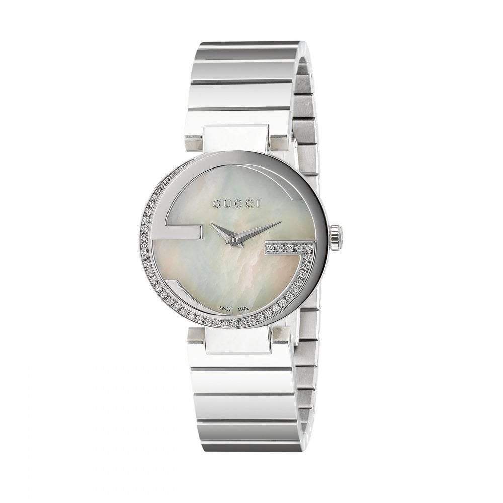 fdb02fe45c3 Gucci LadiesInterlocking-G Diamond Set Bezel Bracelet Watch