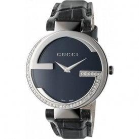 78b6e82f1be Ladies Gucci Interlocking-G Diamond Set Black Dial Watch SALE