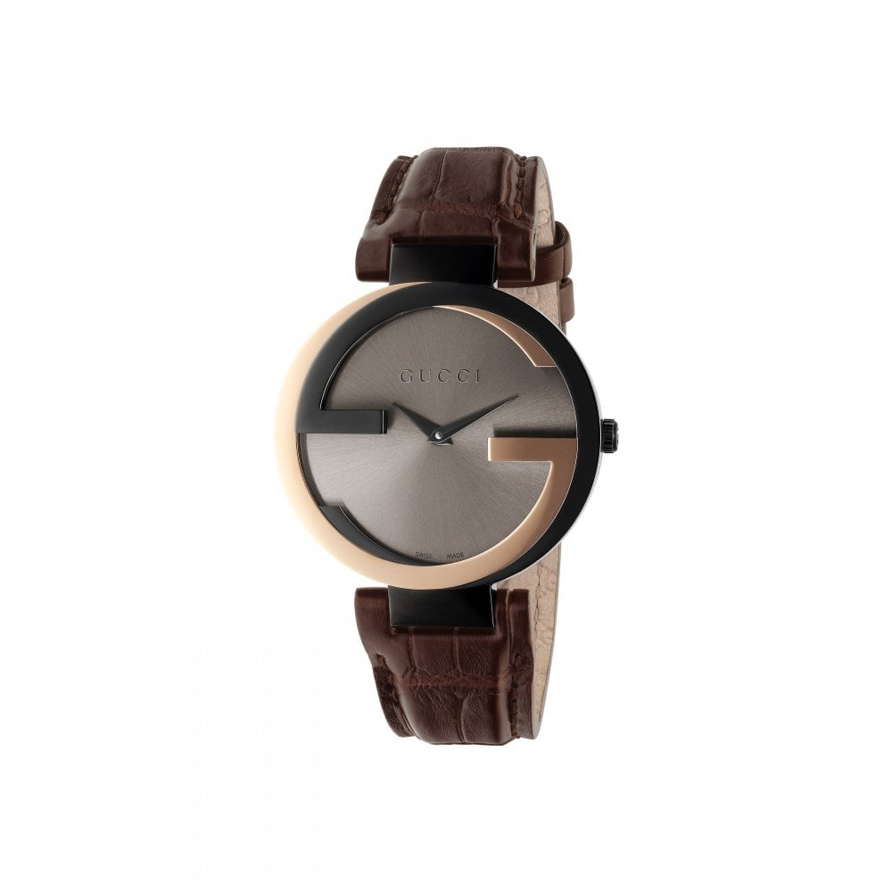 9639232477f Gucci Gucci LadiesInterlocking-G Two Tone Brown Leather Strap Watch ...