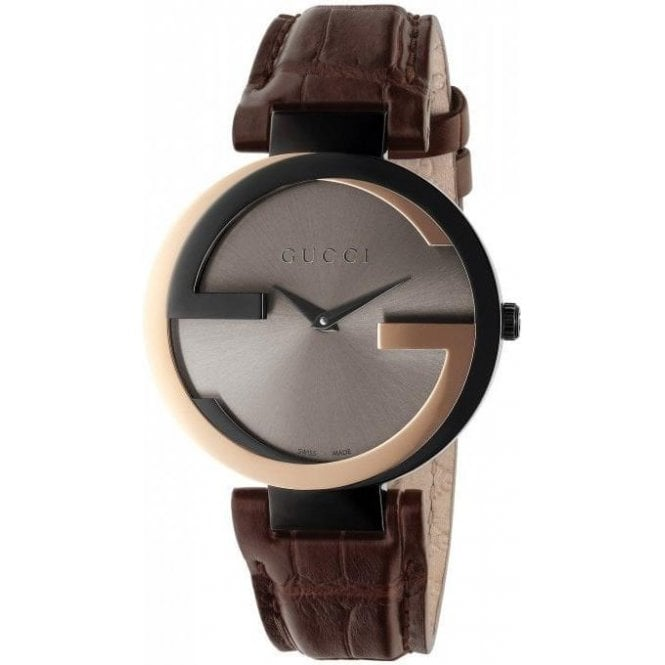 Gucci Ladies Gucci Interlocking-G Two Tone Brown Leather Strap Watch