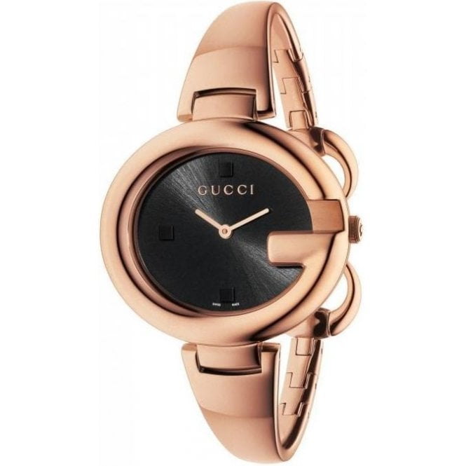 Gucci Ladies Gucci Large Guccissima Rose PVD Black Dial Bangle Watch
