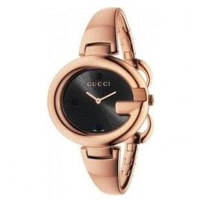 Ladies Gucci Large Guccissima Rose PVD Black Dial Bangle Watch