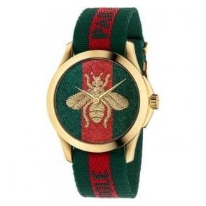 Ladies Gucci Le Marche Des Merveilles Bee Nylon Strap Watch