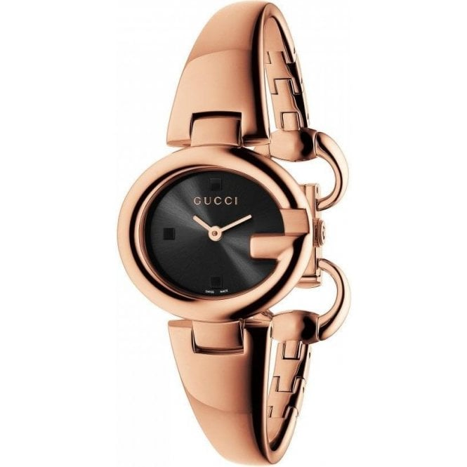 Ladies Gucci Small Guccissima Rose PVD Black Dial Bangle Watch
