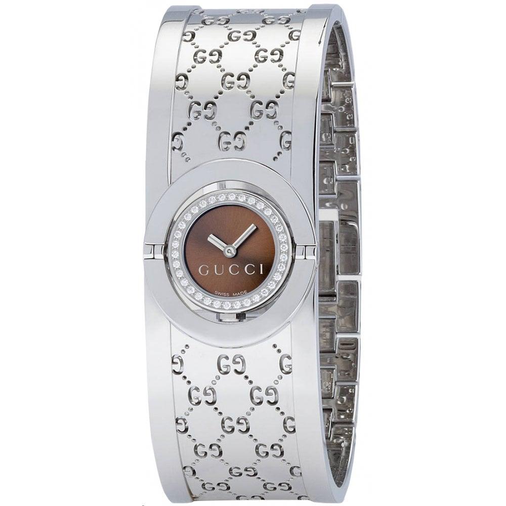 19784556b1b Gucci Gucci LadiesTwirl Brown Dial Diamond Bezel Watch - Watches ...