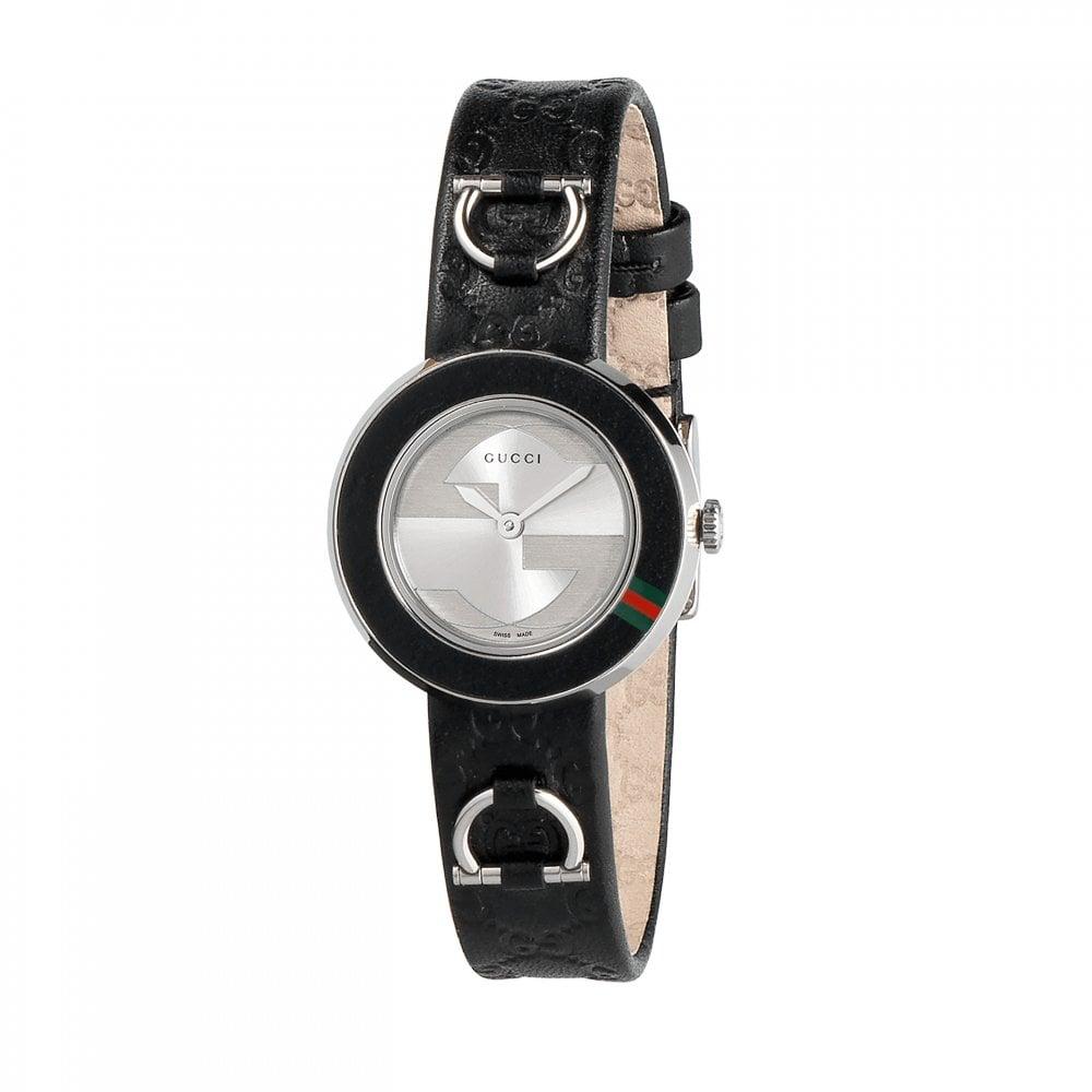 0894dadb07d Gucci Gucci LadiesU-Play Guccissima Black Leather Strap Watch ...