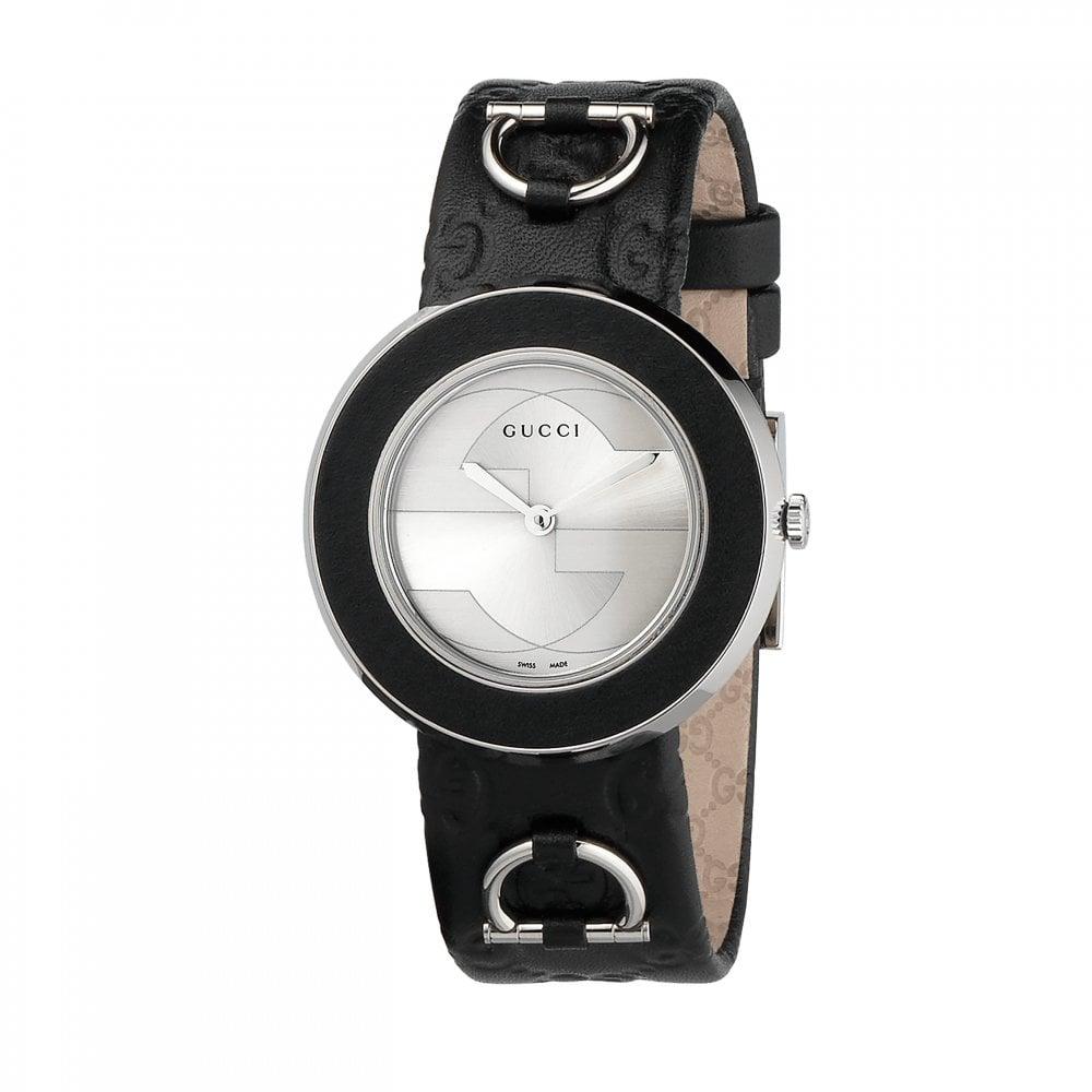 c89588a52ce Gucci Gucci LadiesU-Play Silver Dial Black Bezel Quartz Watch ...