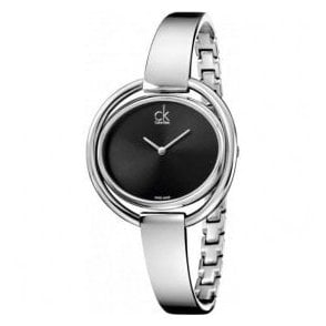 Ladies Impetuous Black Dial Bangle Quartz Watch