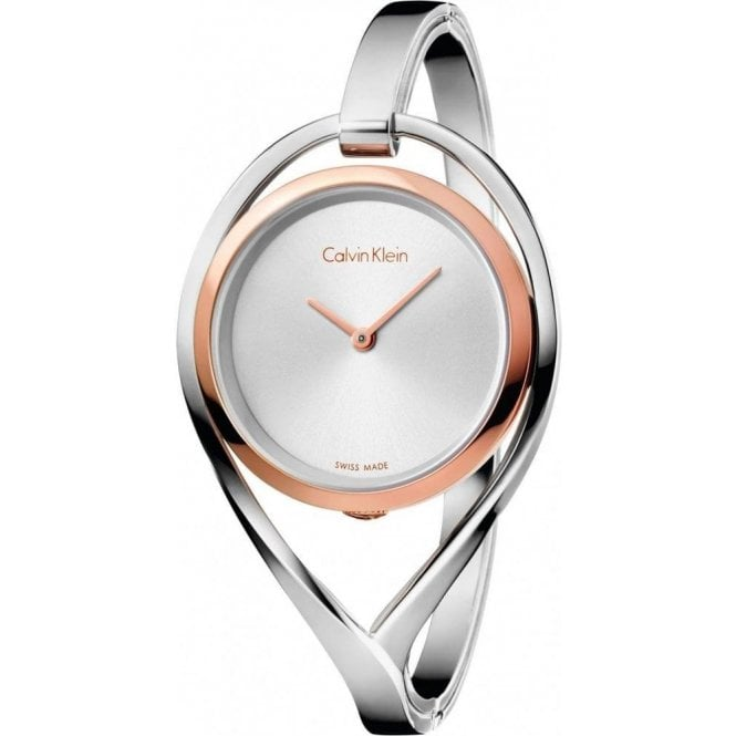 Calvin Klein Ladies Light Two Tone Silver Dial Bangle Quartz Watch