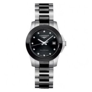 Ladies Longines Conquest Black Ceramic and Steel Bracelet Watch