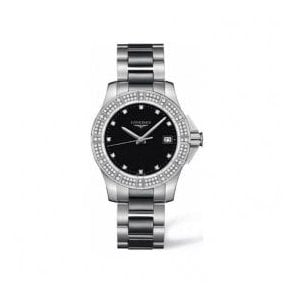 Ladies Longines Conquest Black Dial Diamond Set Bezel Watch