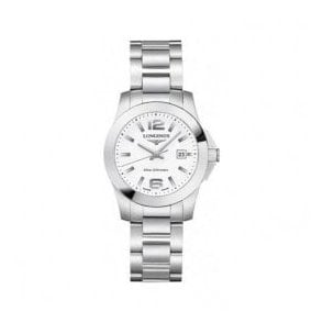 Ladies Longines Conquest White Dial Bracelet Watch