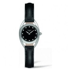 Ladies Longines Equestrian Black Diamond Set Dial Watch