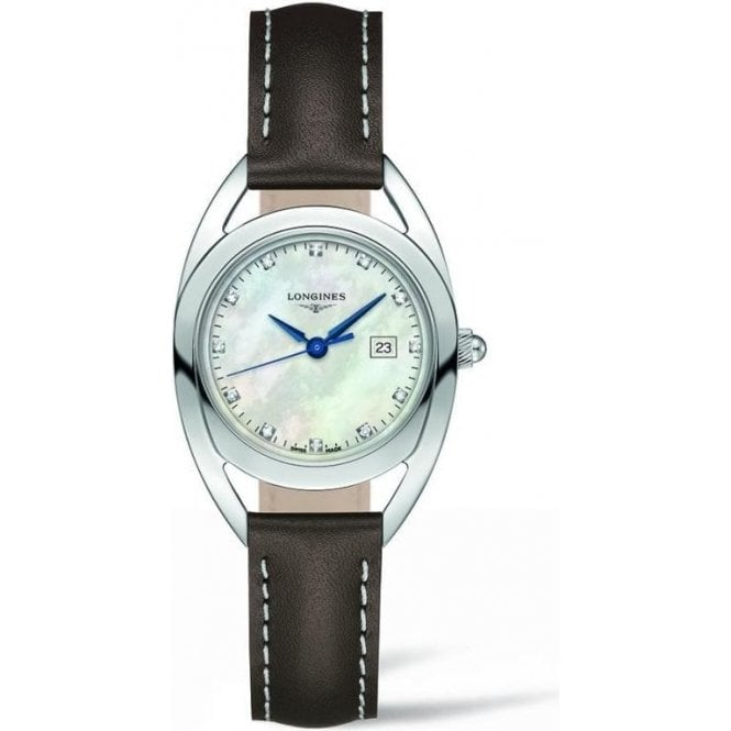 Longines Ladies Longines Equestrian MOP Dial Brown Strap Watch