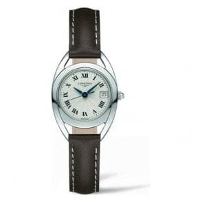 Ladies Longines Equestrian Silver Dial Brown Leather Strap Watch