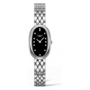 Ladies Longines Symphonette Black Diamond Set Dial Watch