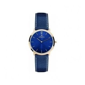 Ladies Michel Herbelin Ikone Lady Blue Dial Leather Strap Watch