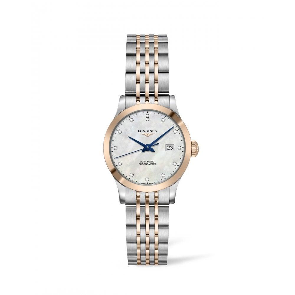 1df7b0422 Longines Longines Ladies Record Diamond Set Dial Two Tone Bracelet ...