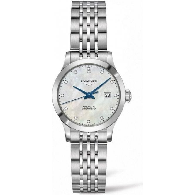 Longines Ladies Record MOP Diamond Dot Dial Automatic Watch