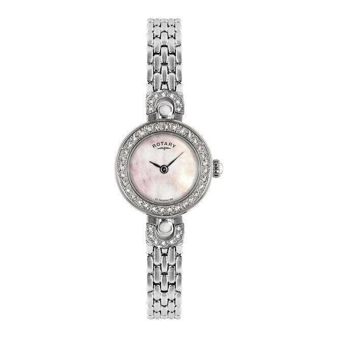 Rotary Ladies Rotary Diamond Bezel Mother-Of-Pearl Watch