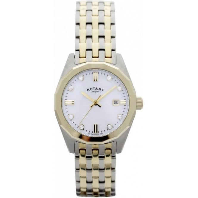 Rotary Ladies Rotary Mother-Of-Pearl Two Tone Bracelet Watch