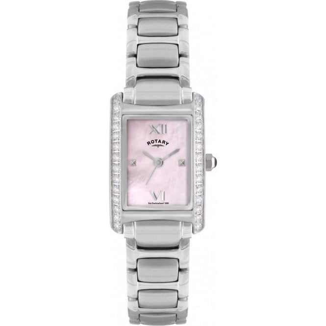Rotary Ladies Rotary Pink Dial Crystal Set Watch