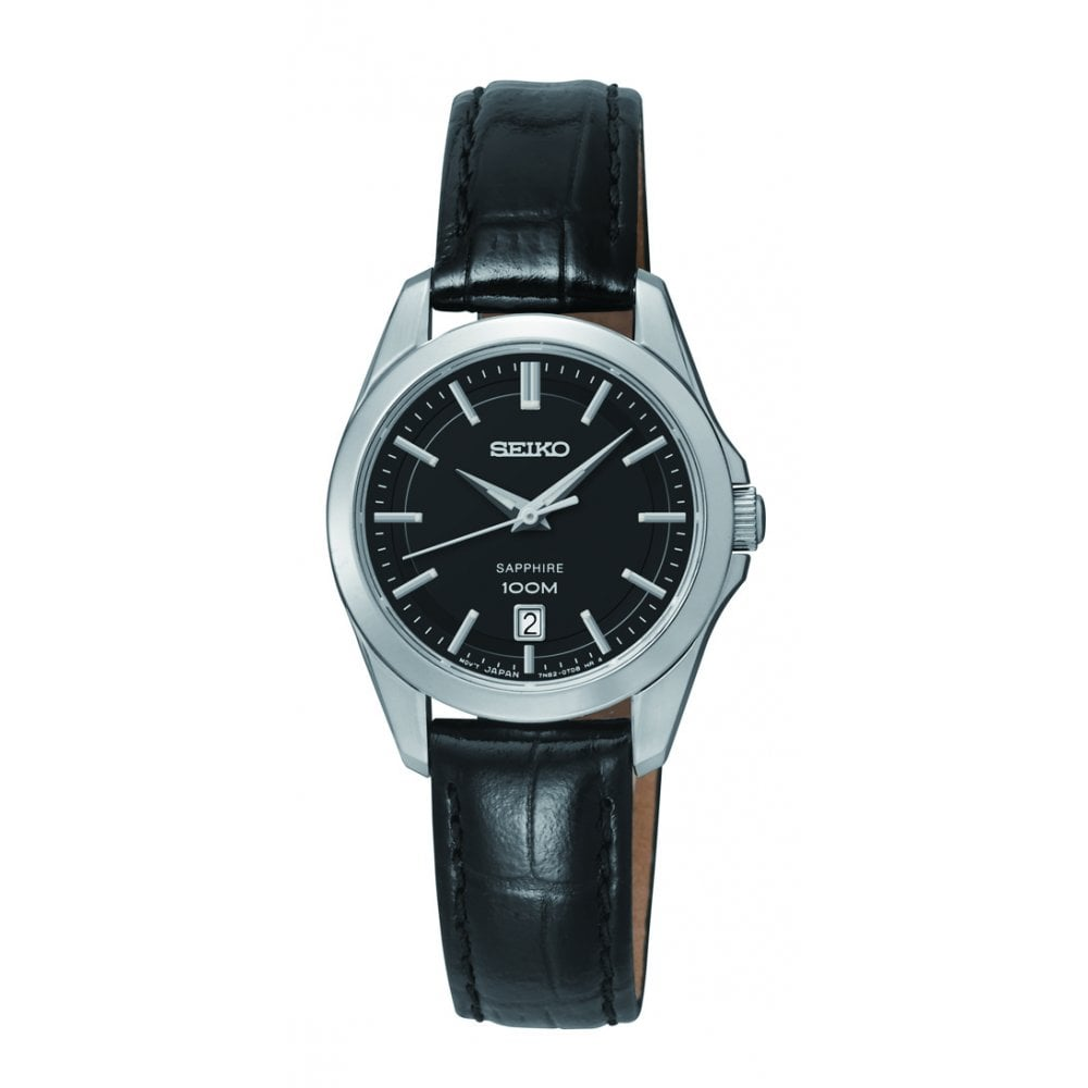 Ladies Black Dial Sapphire Glass Black Leather Strap Watch