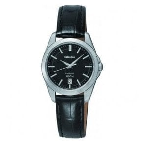 Ladies Seiko Black Dial Sapphire Glass Black Leather Strap Watch